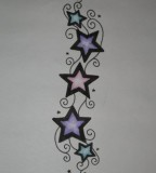 Feminine & Cute Swirlies and Stars Tattoo Designs for Women
