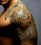 Half-Sleeve Polynesian Tribal Upper-Arm Tattoos for Men