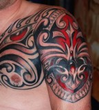 Polynesian Tribal Upper-arm to Chest Tattoo Designs for Men