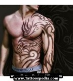 Masculine Sleeve to Ribs / Abdomen Tribal Tattoo Design for Men