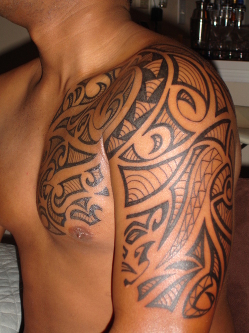 Polynesian Tribal Chest-to-Sleeve Tattoo Design For Men