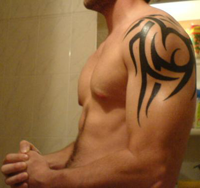 Simple Example of Upper-arm Tribal Tattoos for Men and Women