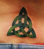 Exotic Green Lower Back Trinity Knot Tattoo Graphic for Girls
