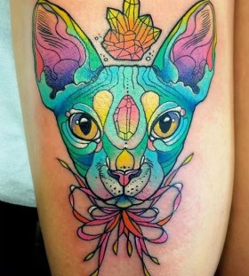 trippy cat tattoo