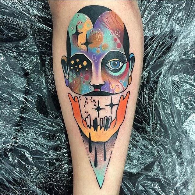 trippy portrait tattoo