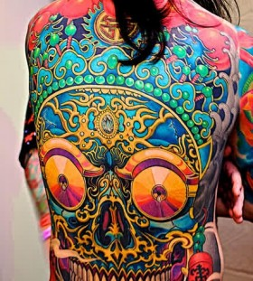 trippy skull tattoo