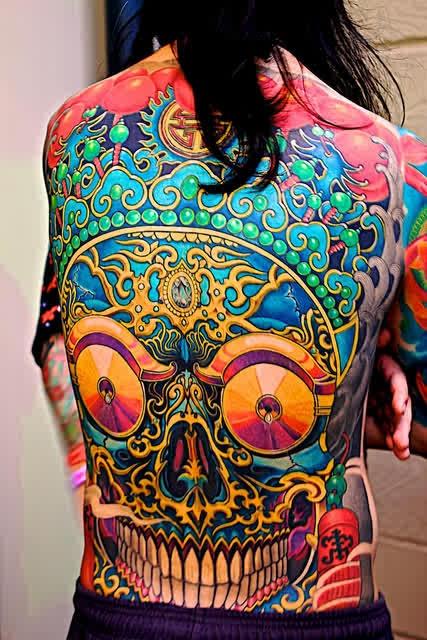 trippy skull tattoo