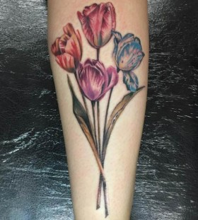 tulip bouquet flower tattoo