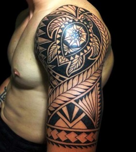 turtle inspired tribal tattoo