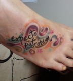 Expecto Patronum Literary Color Tattoo On Foot