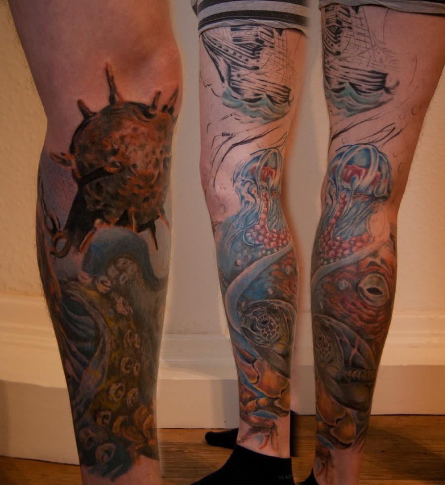 Realist Foot And Leg Tattoo Design – Turtle Tattoo