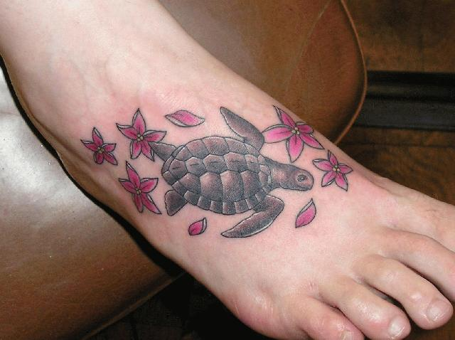 Turtle Flowers Foot Tattoo Ideas