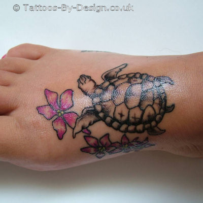 Flower And Turtle Tattoo Ideas