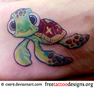 Cartoon Sea Turtle Tattoos Ideas