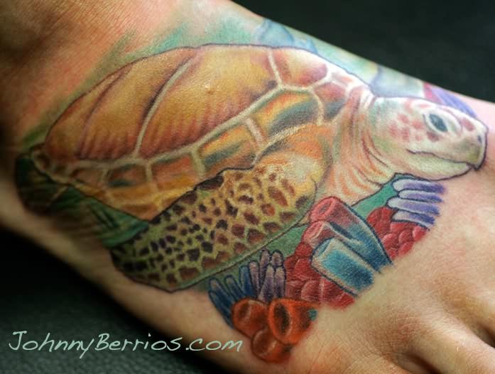 Turtle Of Sea Tattoos On Foot Design