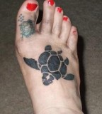 Turtle Tattoos On Foot - Animal Tattoo Design