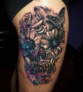 tylermalek-galaxy-flower-skull-tattoo