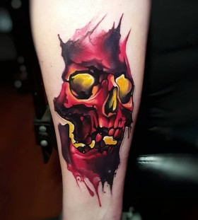 tylermalek-watercolor-skull-tattoo