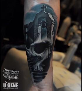 u_genetattoo-church-and-skull-tattoo