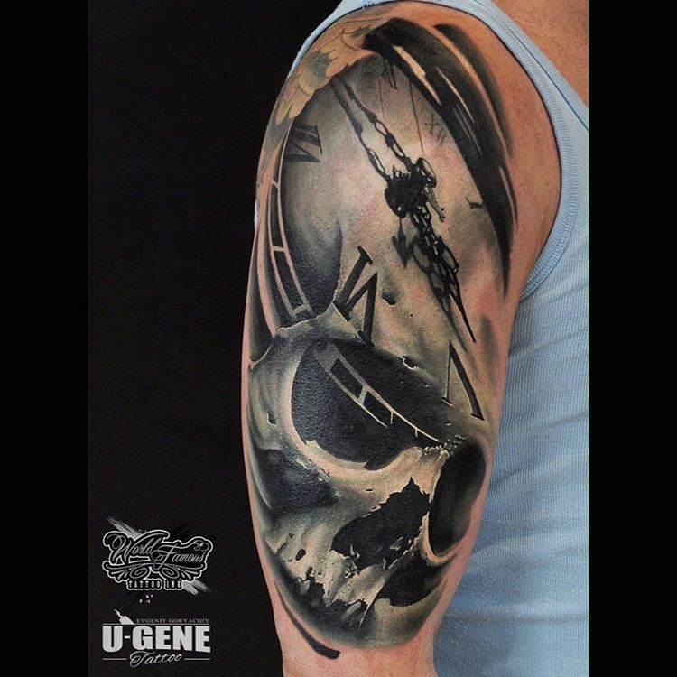 u_genetattoo-clock-and-skull-tattoo