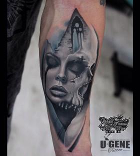 u_genetattoo-crying-girl-skull-tattoo
