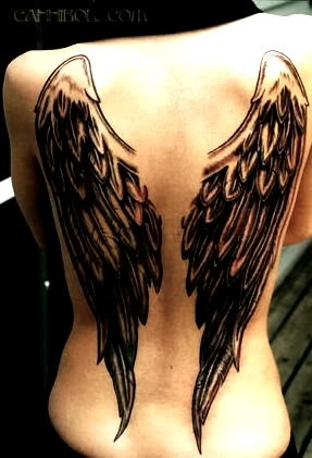 Norse Wing Tattoo  On Girl Back