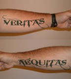 Amazing Boondock Saints Inspired Veritas and Aequitas Lower Arm Tattoo Design