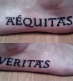 Gorgeous Pairs of Artistic Aequitas Veritas Tattoo on Outer Foot
