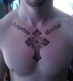 Artistic Veritas and Aequitas Cross Tattoo Design on Men Chest