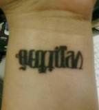 Men Wrist Cool Veritas Aequitas Anagram Tattoo