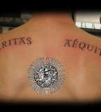 Stunning Veritas Aequitas Back Tattoo Design by David Sickdogs Tattoo