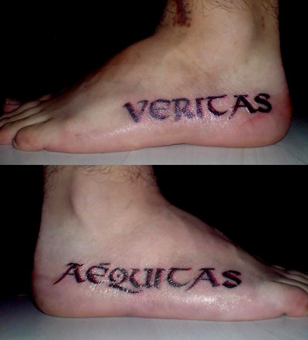 Cool Completed Pairs Veritas Aequitas Tattoos on Both Side Foot