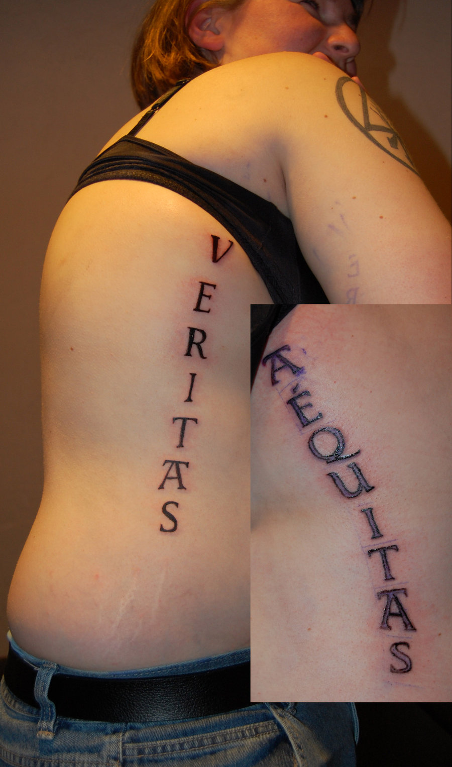 Veritas Aequitas Tattoos on Both Ribs Area, Tattoo Idea for Women (NSFW)