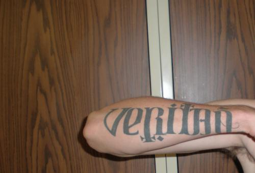 Must-See Men Lower Arm Artistic Aequitas Veritas Anagram Tattoo
