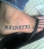 Veritas Aequitas Tattoo for Foot Design Inspiration