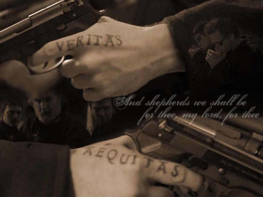 Clay Veritas Et Aequitas Tattoo on Fingers