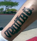 Amazing Veritas Aequitas Ambigram  Tattoo Picture