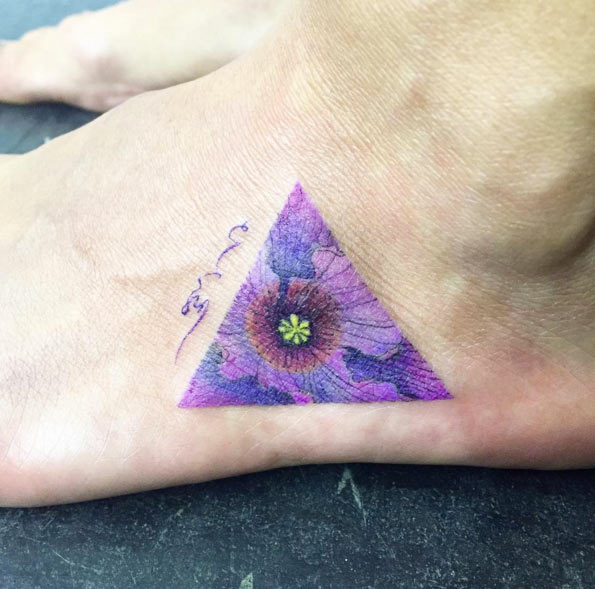 violet in triangle flower tattoo