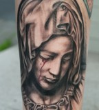 Holy Christian Tattoos of Virgin Mary Crying Blood - Christian Tattoos