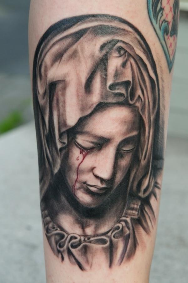 Virgin Mary with Dove | Mary tattoo, Virgin mary tattoo