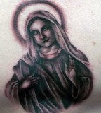 Black and Gray Virgin Mary Tattoo Design for Religious Tattoo Lovers