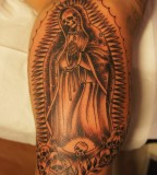 Skull Virgin Mary Arm Tattoo Design for Men - Religious Tattoos