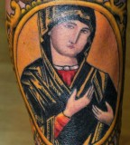 Classic Tattoo Design of the Virgin Mary - Religious Tattoos