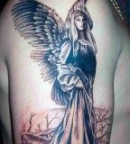 Virgin Mary as Angel with Wings Tattoo Designs - Religious Tattoos