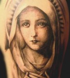 Photo-like Virgin Mary Tattoo Design Art - Religious Tattoo