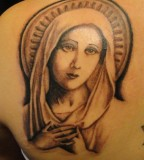 Virgin Mary with Honest Look Tattoo Design - Religious Tattoos