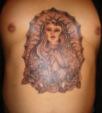 Virgin Mary with Roses in Goddess-like Tattoo Design for Men