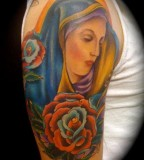 Virgin Mary and Rose Flowers Upper-arm Tattoo Design for Men