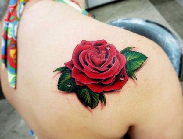 vivid red rose flower tattoo