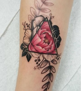 watercolor and black and grey flower tattoo